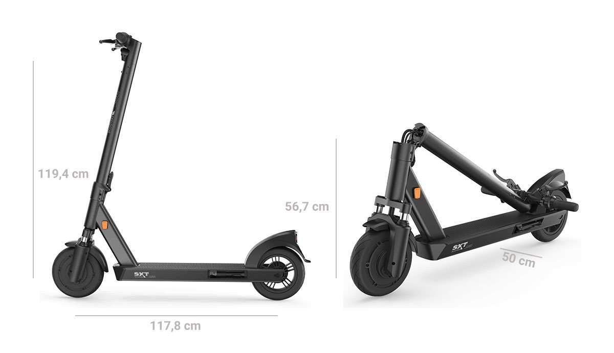 SXT MAX Electric Scooter eKFV (STVZO), Long Range, Dust-proof and Waterproof Resistant, 120kg Load, Size Chart