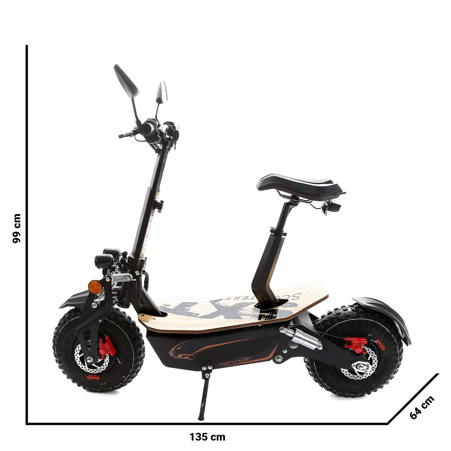 SXT Monster Off road Electric Scooter Size